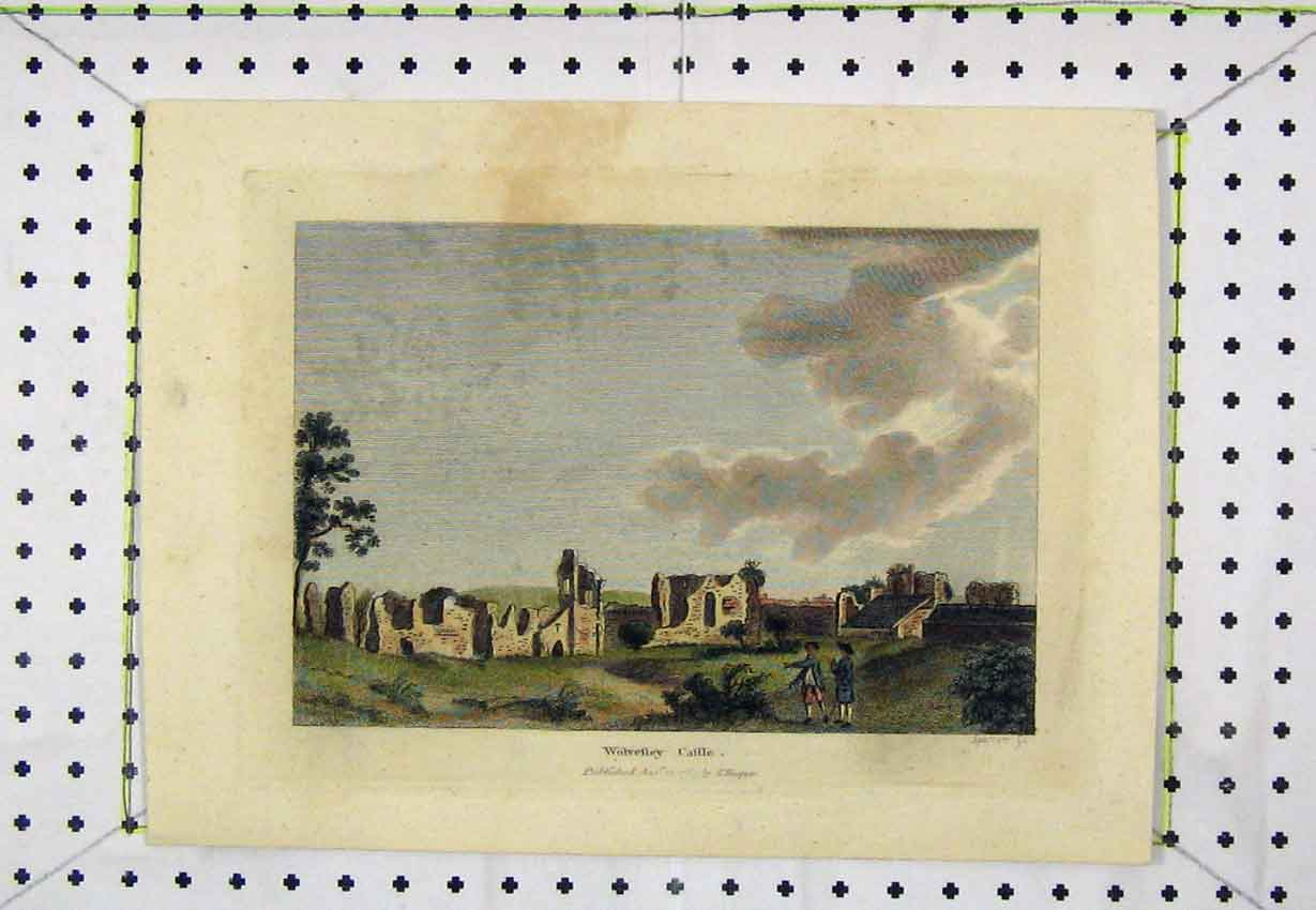 Print 1783 Colour View Wolvesly Castle Engraving Hooper 167B220 Old Original