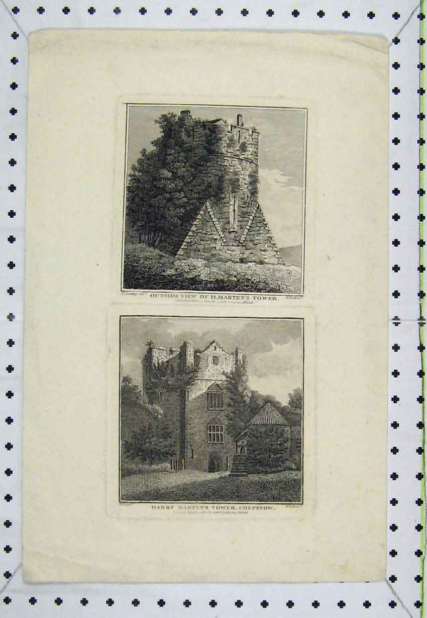Print View Harry Marten'S Tower Chepstow 1800 Engraving 171B220 Old Original
