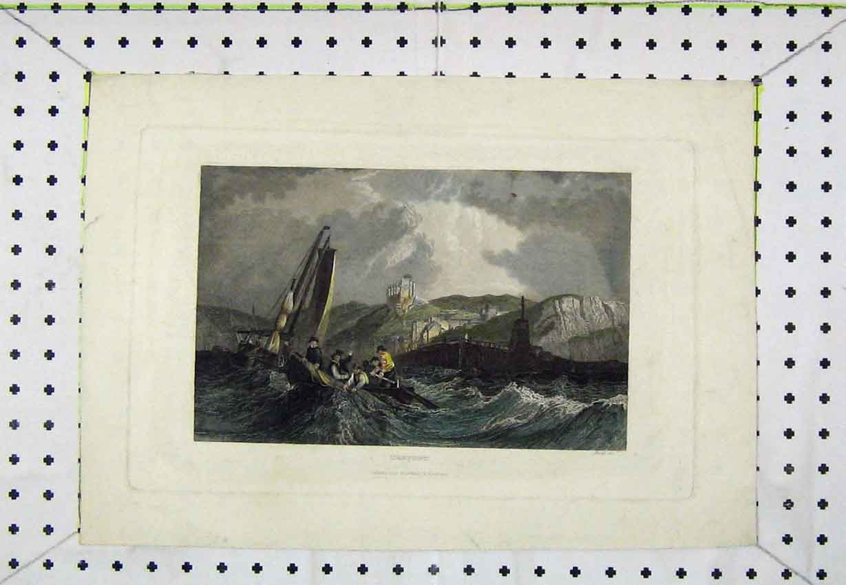 Print View Treport C1850 Colour Stormy Sea Sailing Boat 199B220 Old Original
