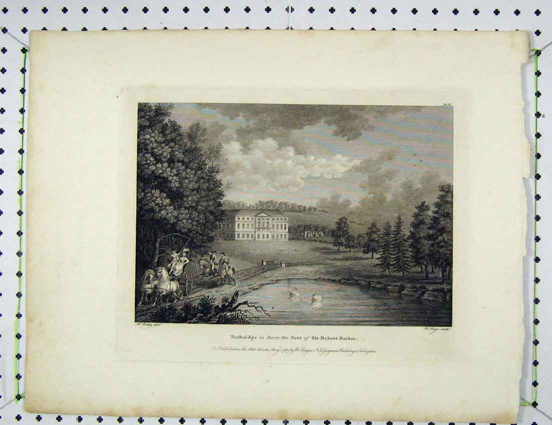Print 1787 View Busbridge Surrey Seat Robert Barker Angus 102B221 Old Original