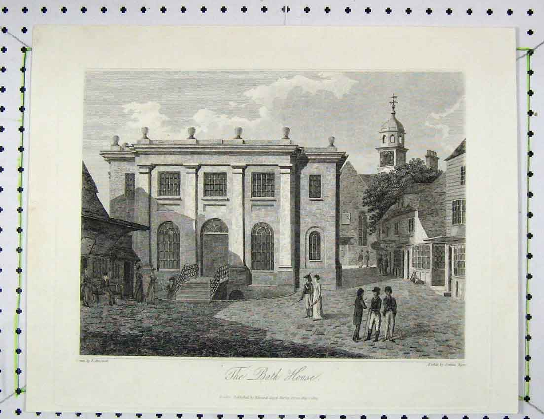 Print 1809 Engraving View Bath House Building Byrne 108B221 Old Original