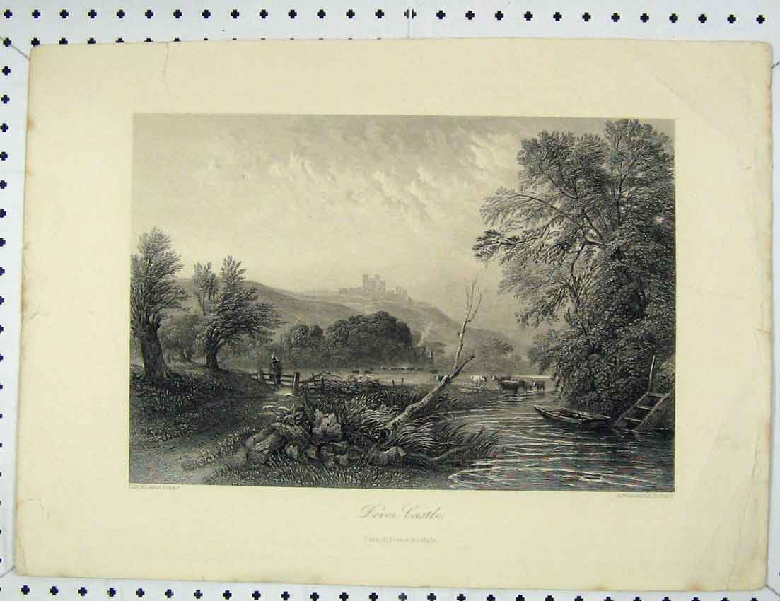 Print Country Scene View Dover Castle Willmore 121B221 Old Original