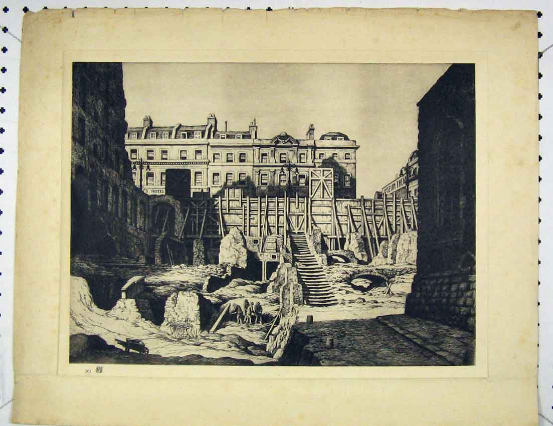 Print View Men Working Bombed Building Crater 201B221 Old Original