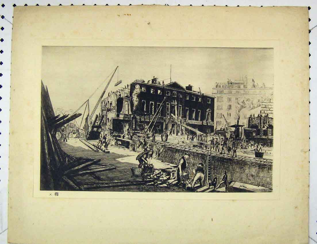 Print View Men Working Bombed Area Railway 202B221 Old Original