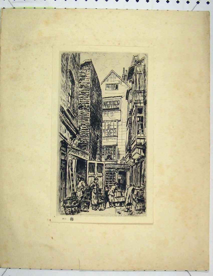 Print Etching Street Market Scene People Working 207B221 Old Original