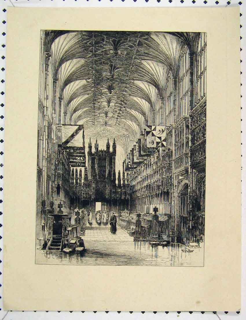 Print Etching Scene Georges Chapel Windsor London 209B221 Old Original