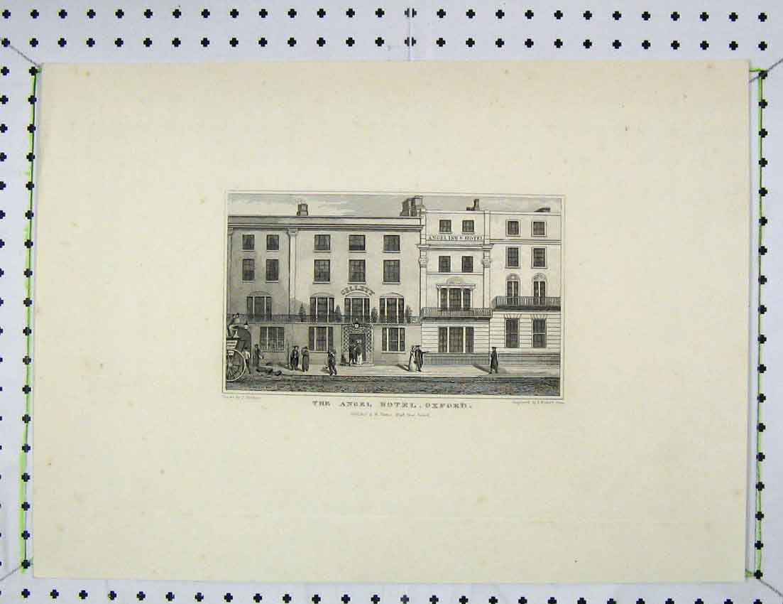 Print Engraving View Angel Hotel Oxford Fisher 301B221 Old Original