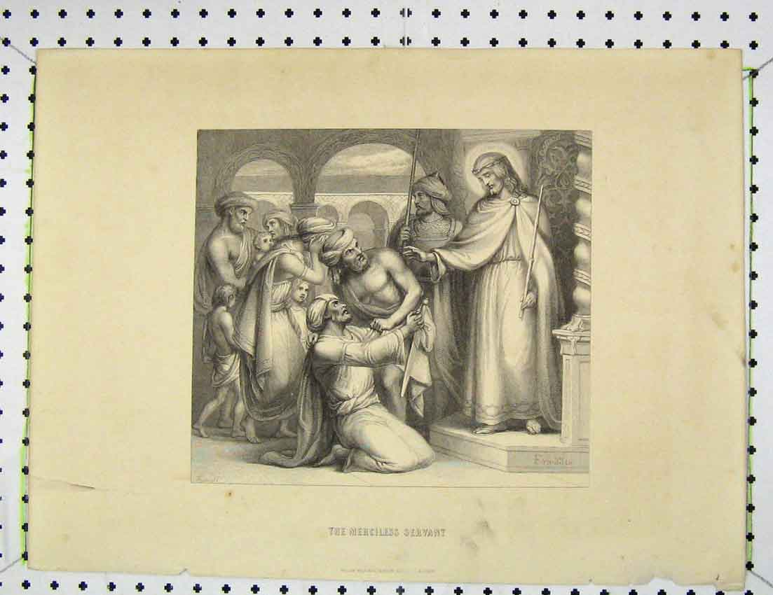 Print Engraving Scene Merciless Servant Jesus Holy 307B221 Old Original