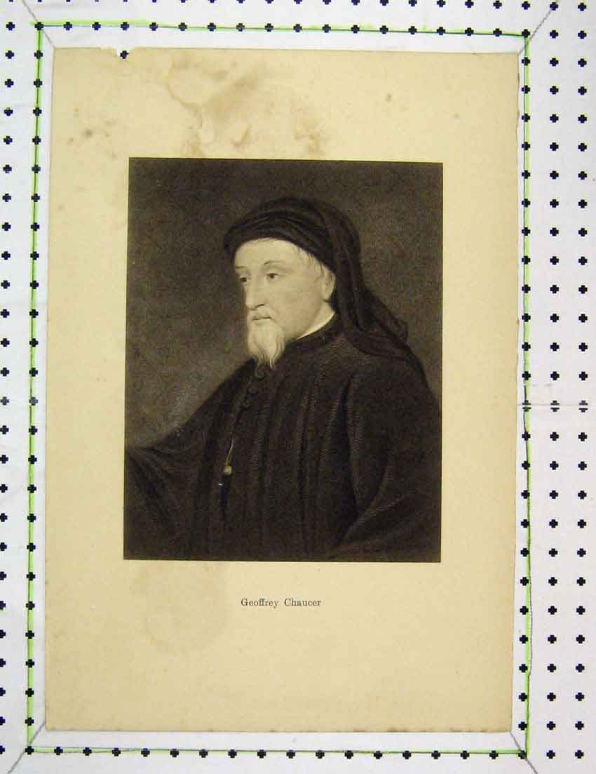 Print Engraving Man Geoffrey Chaucer Robes 316B221 Old Original