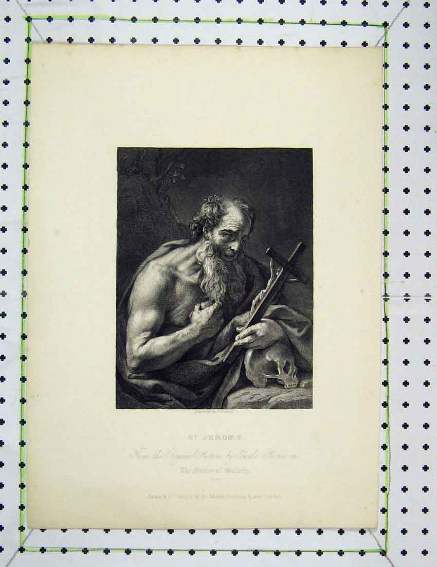 Print Engraving Fussell St Jerome National Gallery 318B221 Old Original