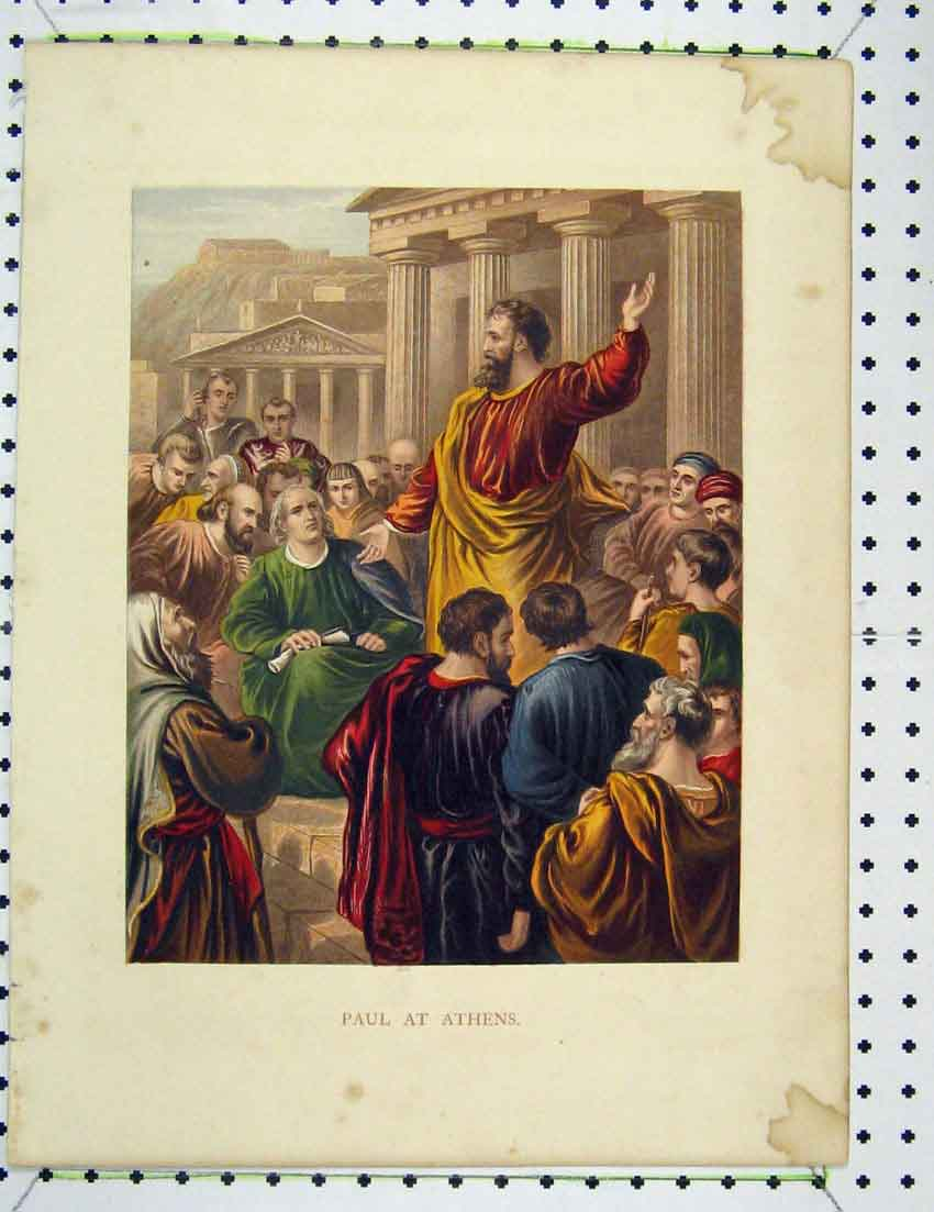 Print Colour Paul Speech Athens Rome Robes 330B221 Old Original