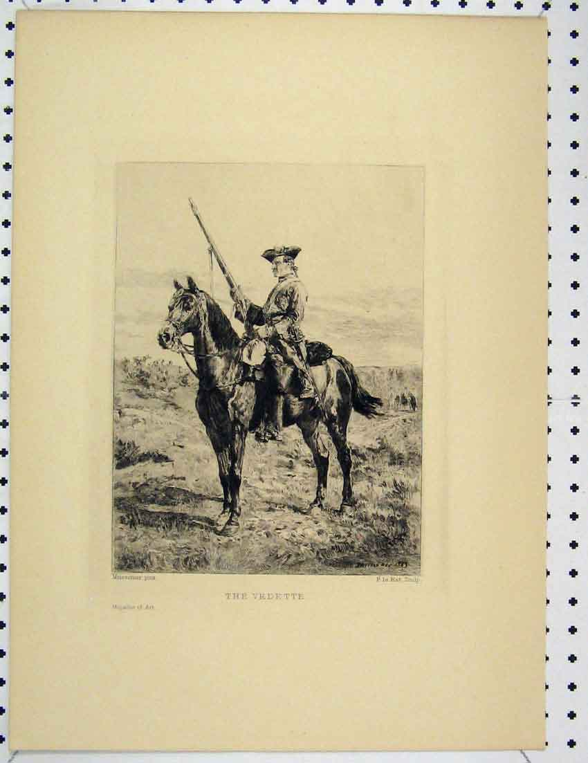 Print Engraving Man Horse Rifle Vedette Country Scene 332B221 Old Original