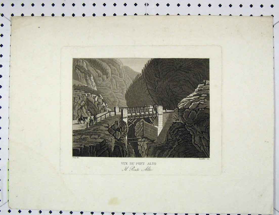 Print Engraving View Vue Du Pont Alto Bridge Hills 338B221 Old Original