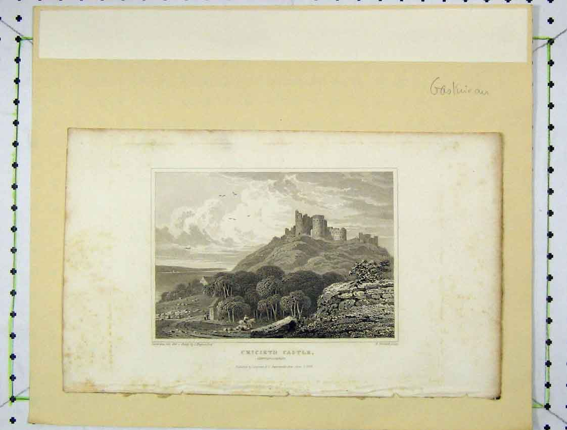 Print 1824 View Cricieth Castle Caernarvonshire Woolnoth 108B222 Old Original