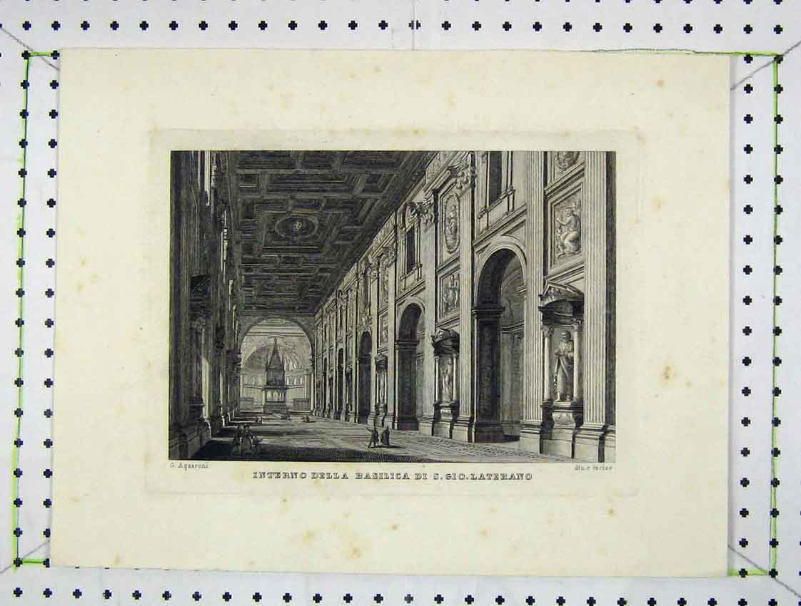 Print Engraving Interior View Grand Stately Home 116B222 Old Original