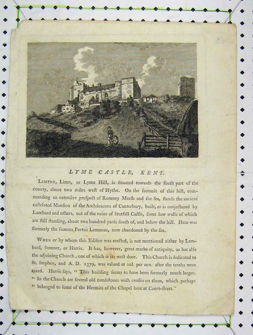 Print View Lyme Castle Kent England Engraving Country 118B222 Old Original