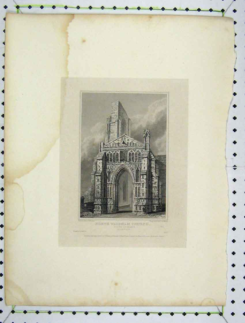Print View North Walsham Church Norfolk 1824 Engraved Keux 126B222 Old Original