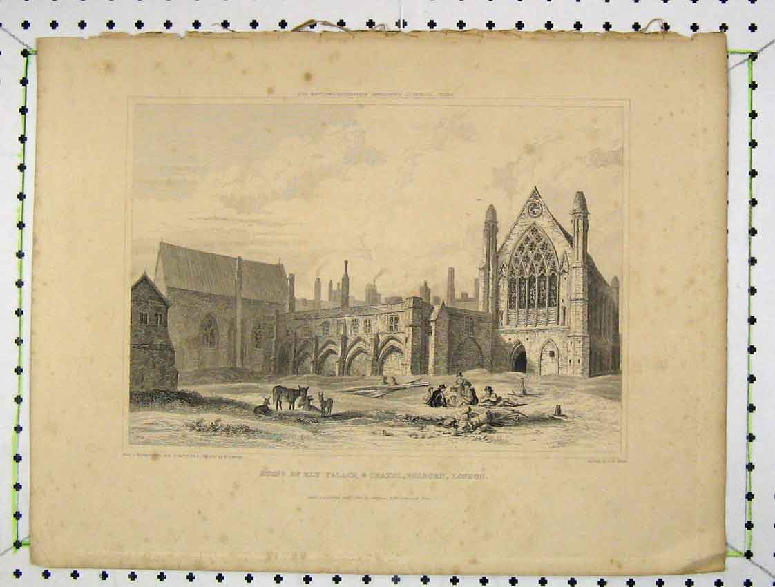 Print 1828 View Ruins Ely Palace Chapel Holborn London Keux 144B222 Old Original
