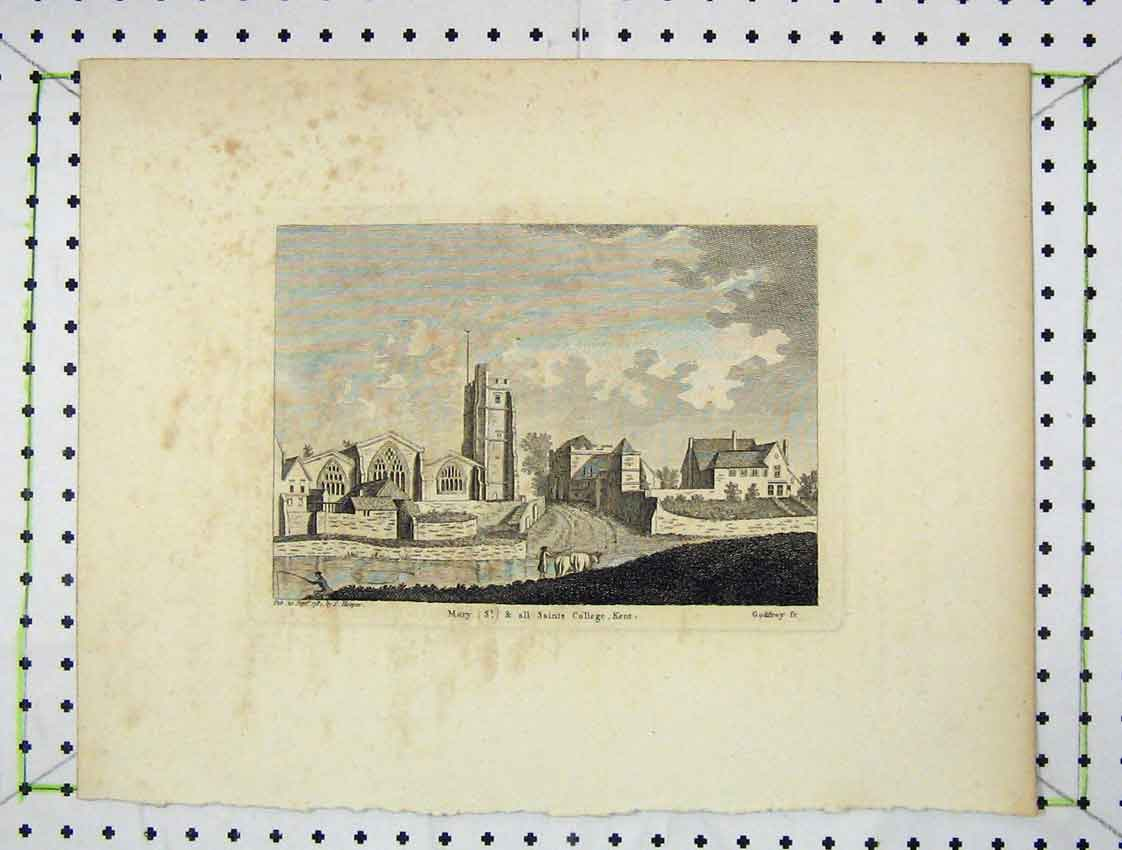 Print Engraving 1784 View St Mary Saints College Kent 150B222 Old Original