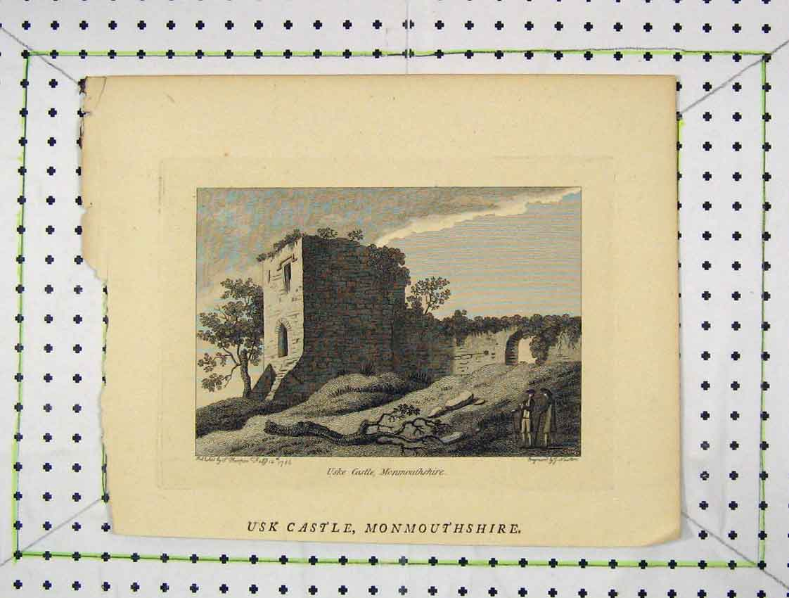 Print 1786 View Uske Castle Monmouthshire 158B222 Old Original