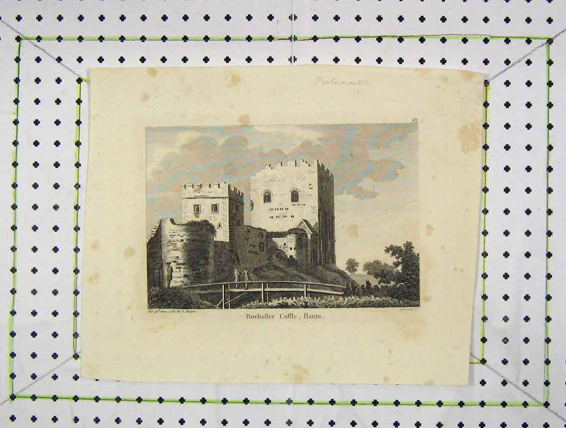 Print 1784 View Porchester Castle Hampshire 159B222 Old Original