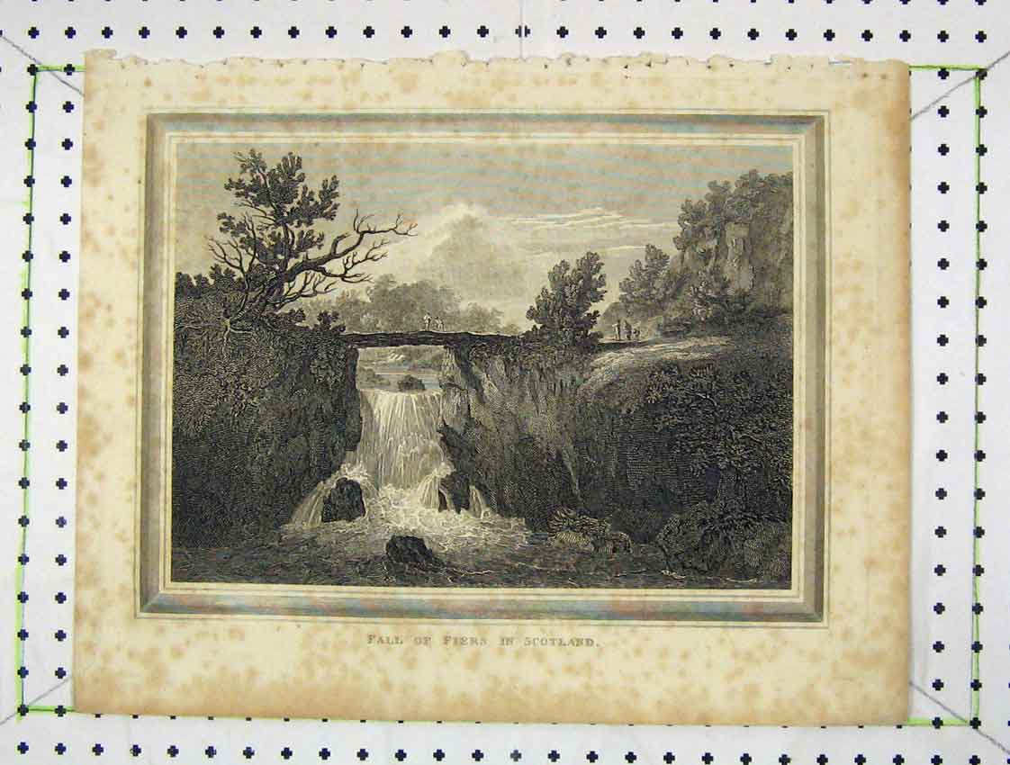 Print Engraving View Fall Fiers Scotland River Bridge 170B222 Old Original