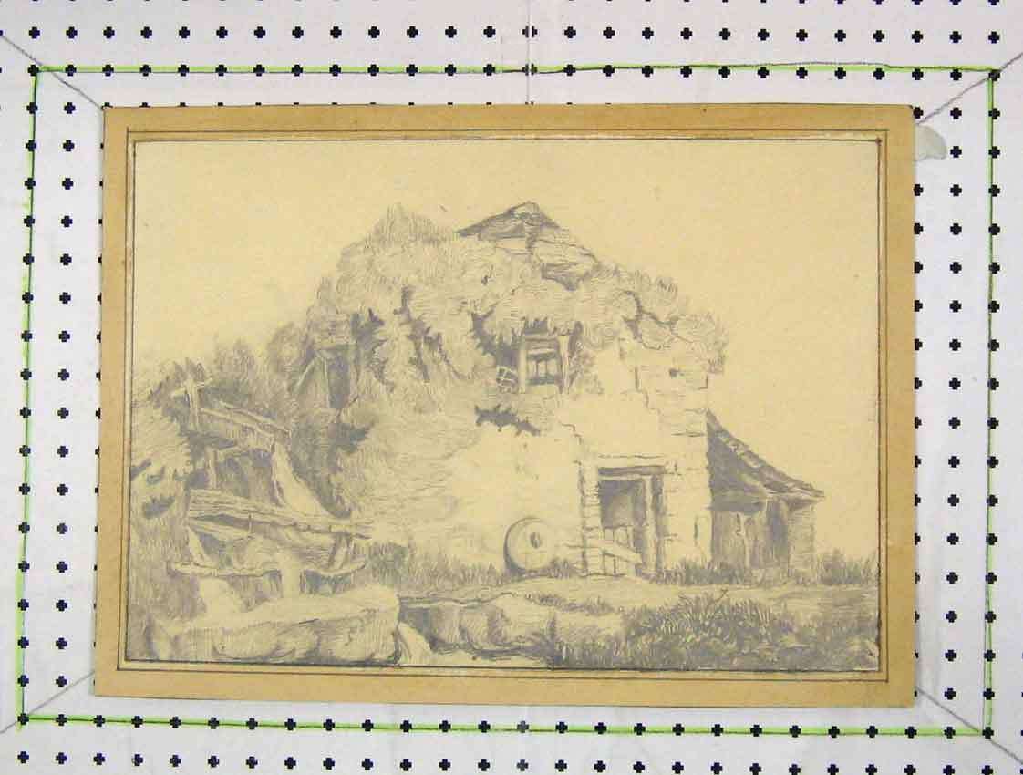 Print Drawing View Country House Thatched Ro172B222 Old Original