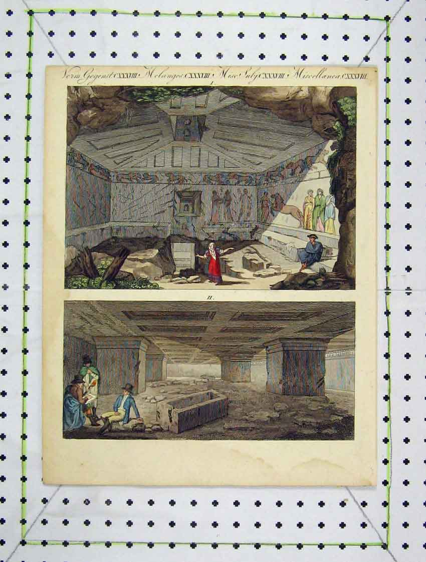 Print Colour Egyptain Building Underground 176B222 Old Original