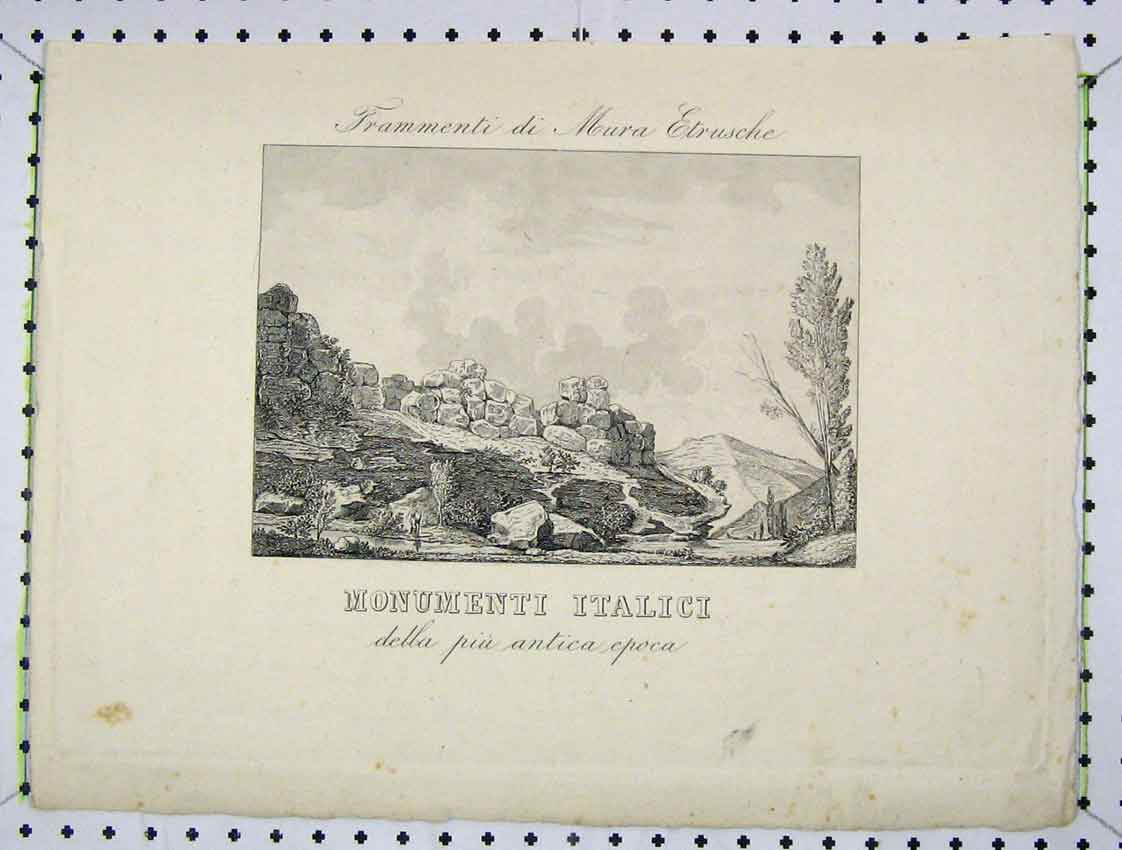 Print Engraving Country Scene Rocks Trees Hills 183B222 Old Original
