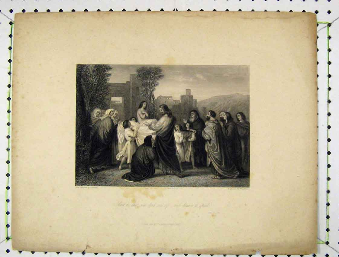 Print 1841 Engraving Scene Holy Men Gathering Mote 198B222 Old Original