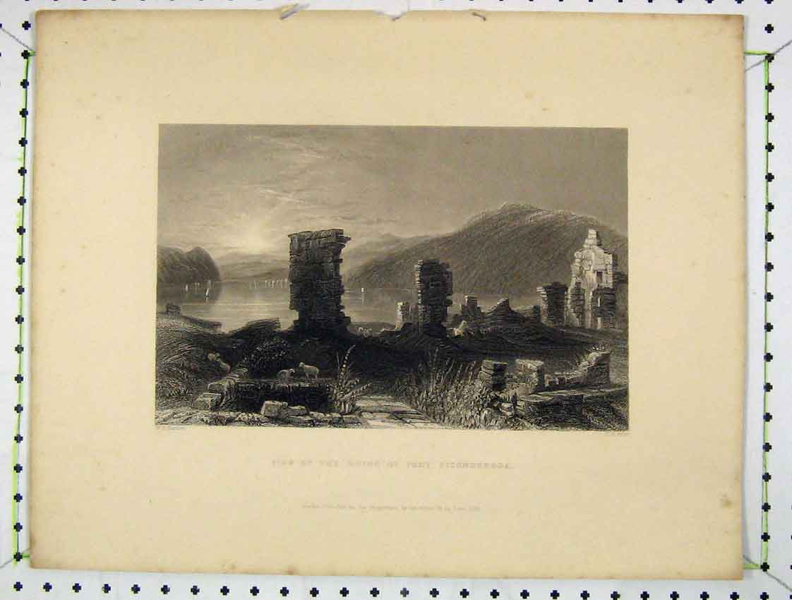 Print 1837 View Ruins Fort Ticonderoga Engraving Prior 203B222 Old Original