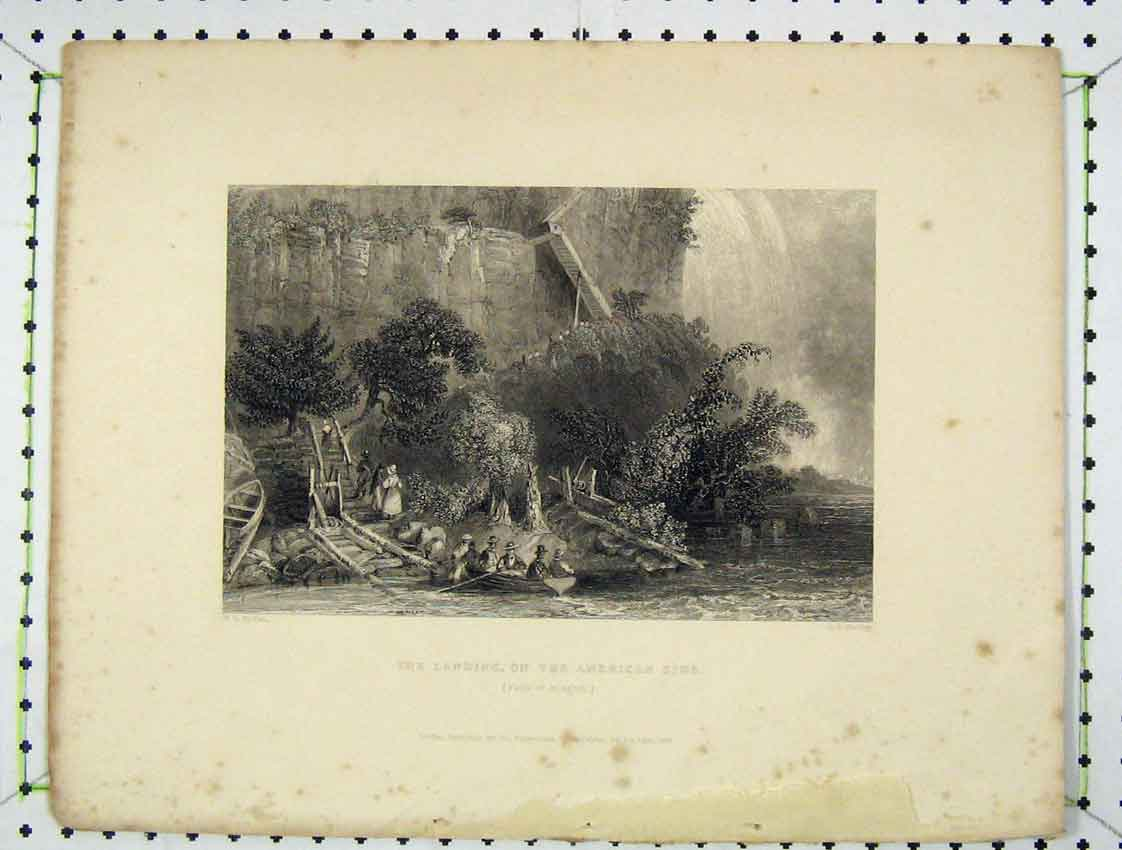 Print Engraving View Landing American Side Niagara Falls 1839 204B222 Old Original