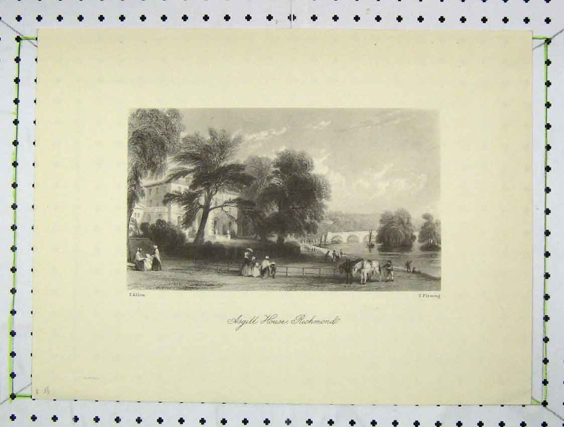 Print View Asgill House Richmond Country Engraving Fleming 217B222 Old Original