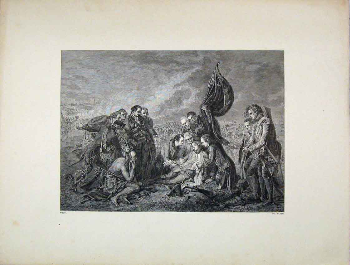 Print War Scene Death General Wolfe West 234B222 Old Original