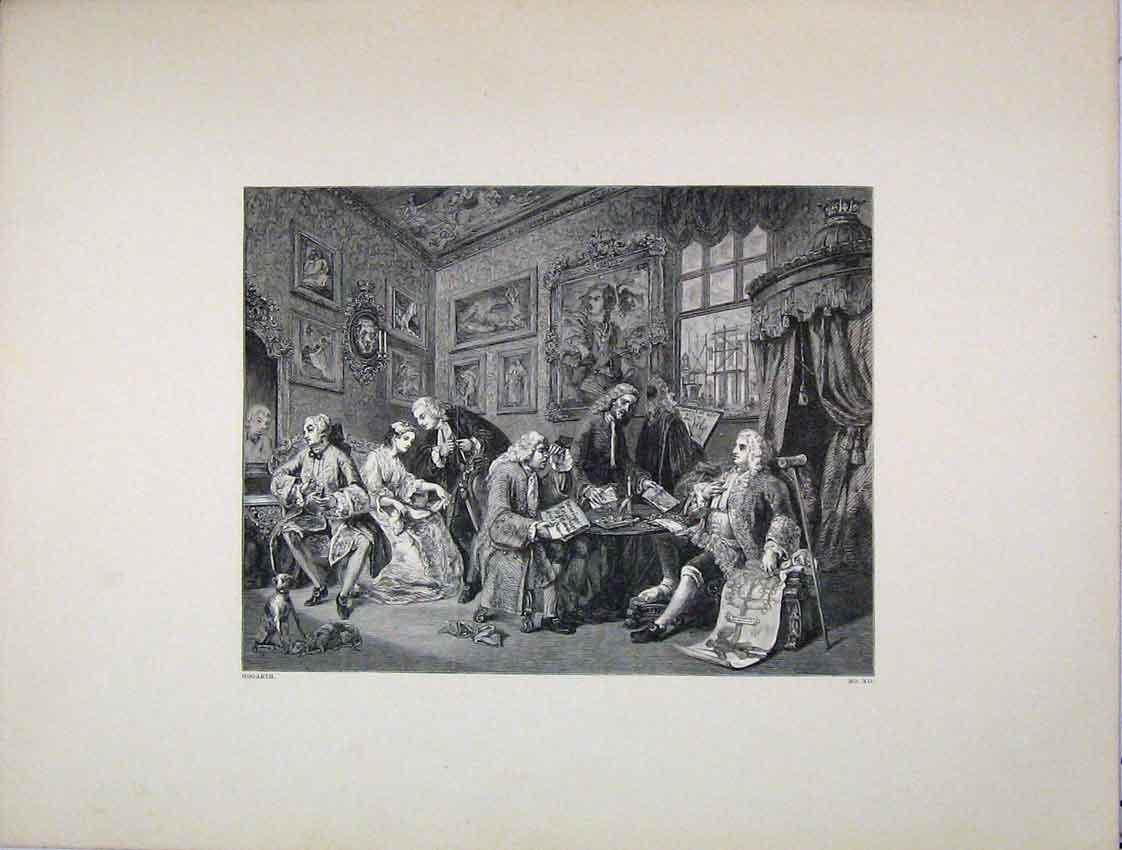 Print Engraving Meeting People Reading Hogarth 242B222 Old Original