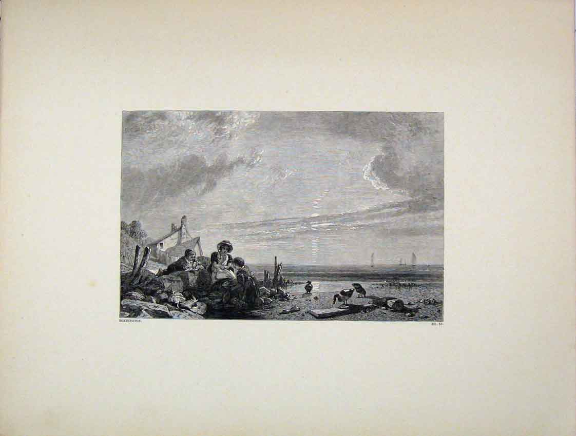 Print Engraving Coast Scene Birds Bonnington 243B222 Old Original
