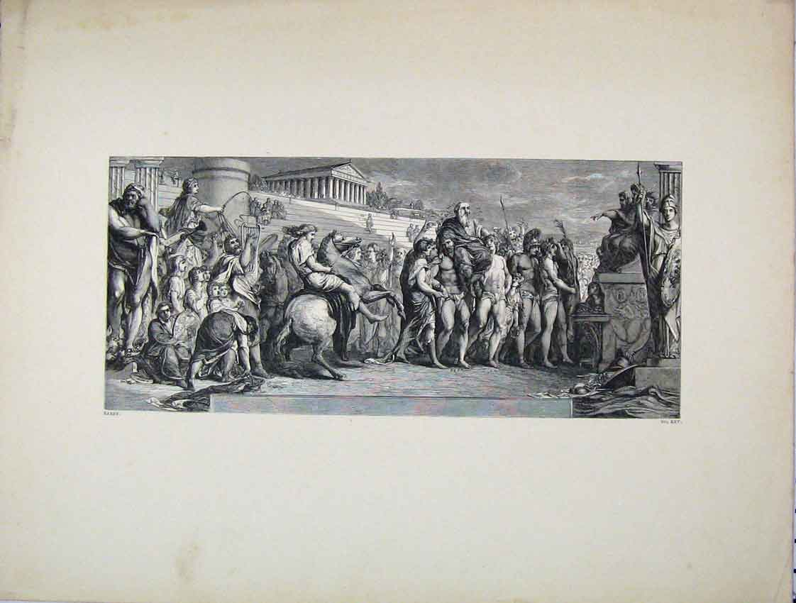 Print Ancient Rome Victors Olympia Engraving Barry 252B222 Old Original