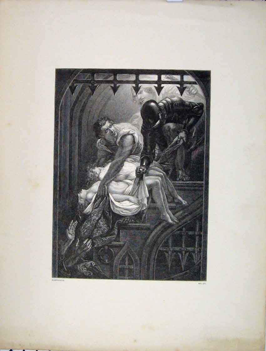 Print Scene Burial Princess Tower Engraving Northcote 260B222 Old Original