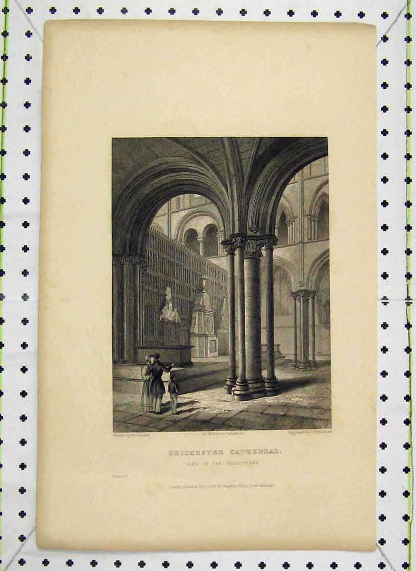Print 1836 Winkles Chichester Cathedral Presbytery Engraving 103B224 Old Original