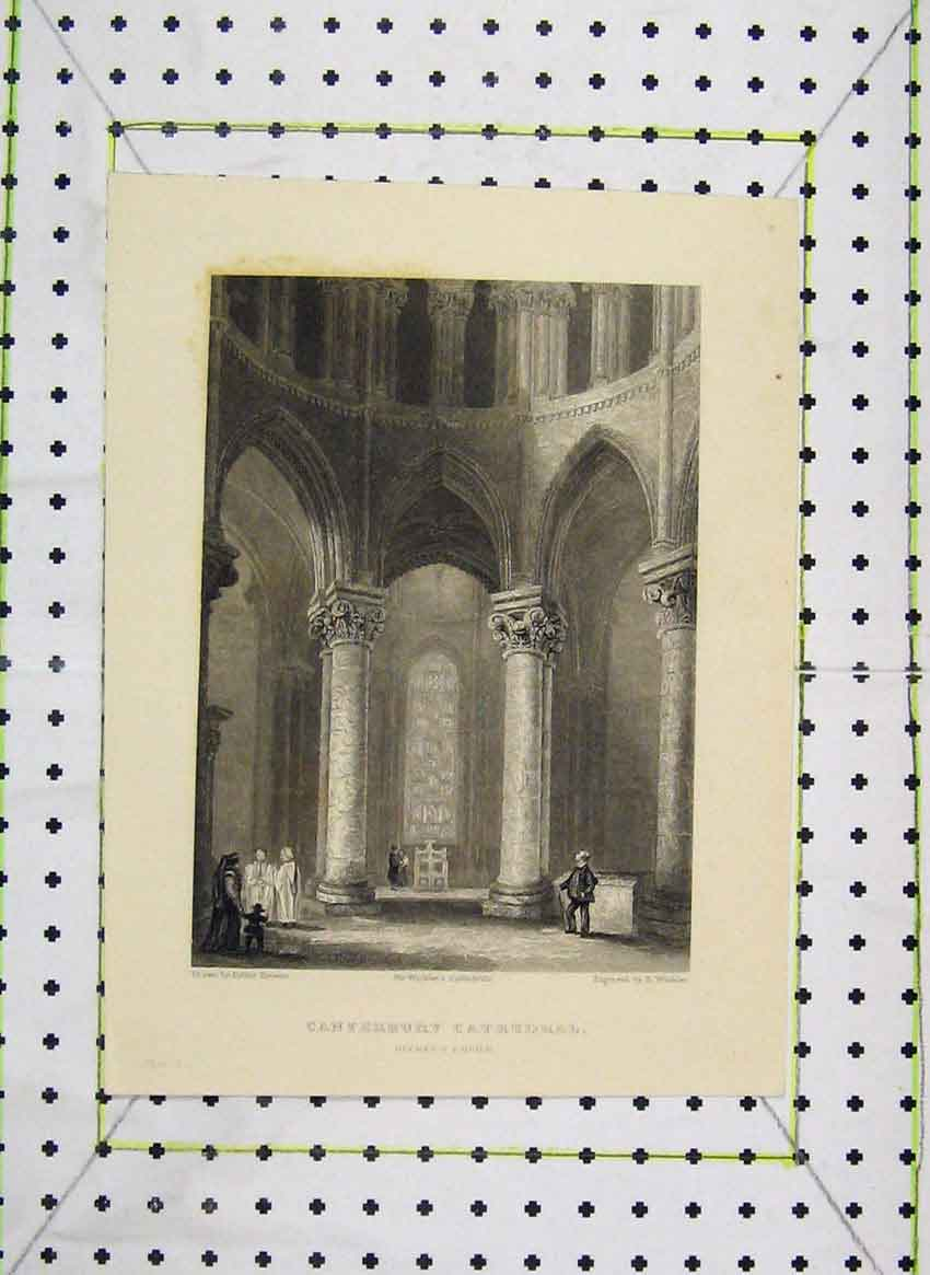 Print View Canterbury Cathedral Beckets Crown Winkles 111B224 Old Original