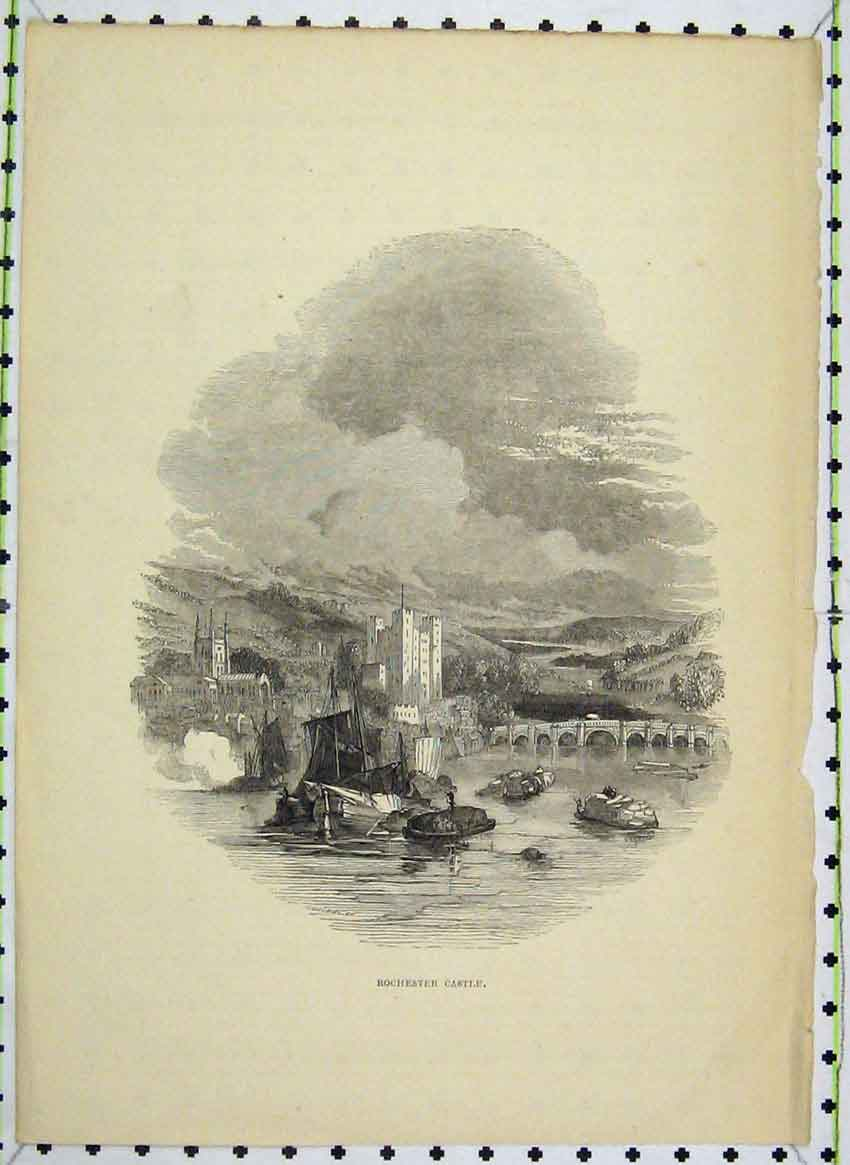 Print View Rochester Castle River Bridge Mountains Country 116B224 Old Original