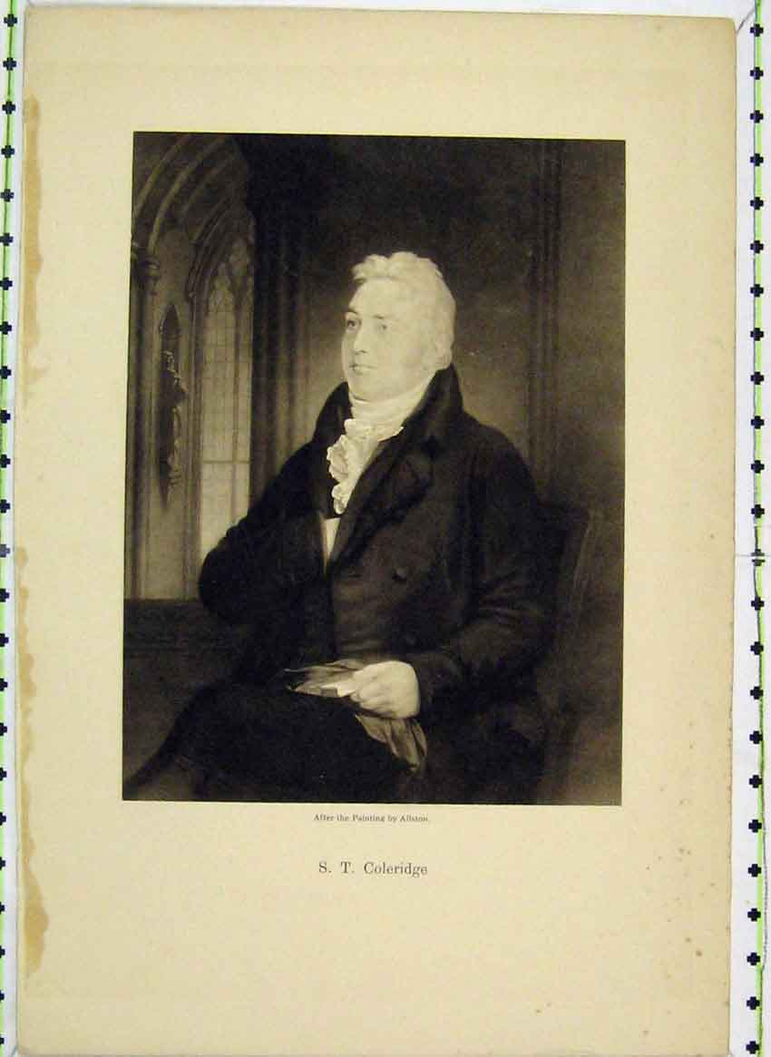 Print Portrait Coleridge Painting Allston 129B224 Old Original