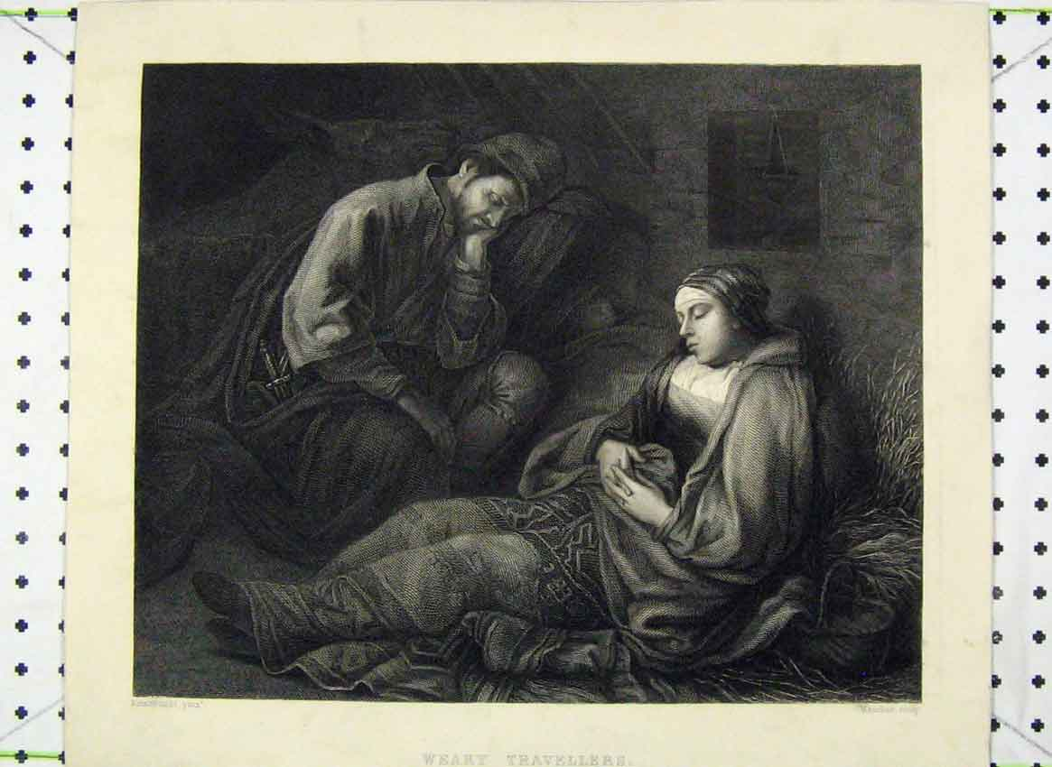 Print Weary Travellers Man Woman Sleeping 148B224 Old Original