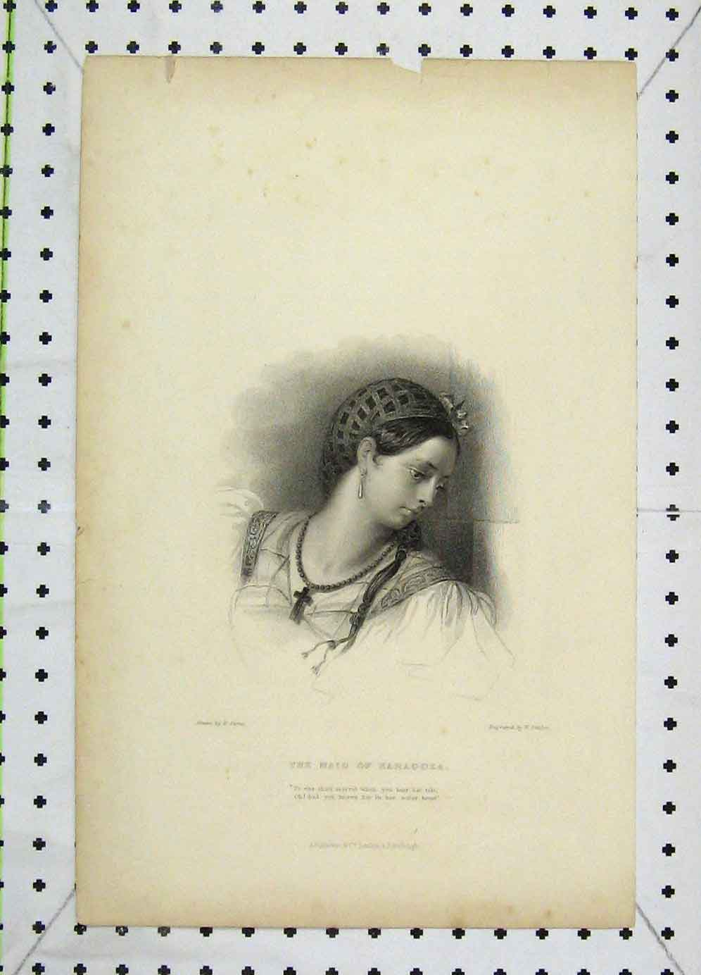 Print Portrait Maid Saragoza Engraved Finden 112B225 Old Original
