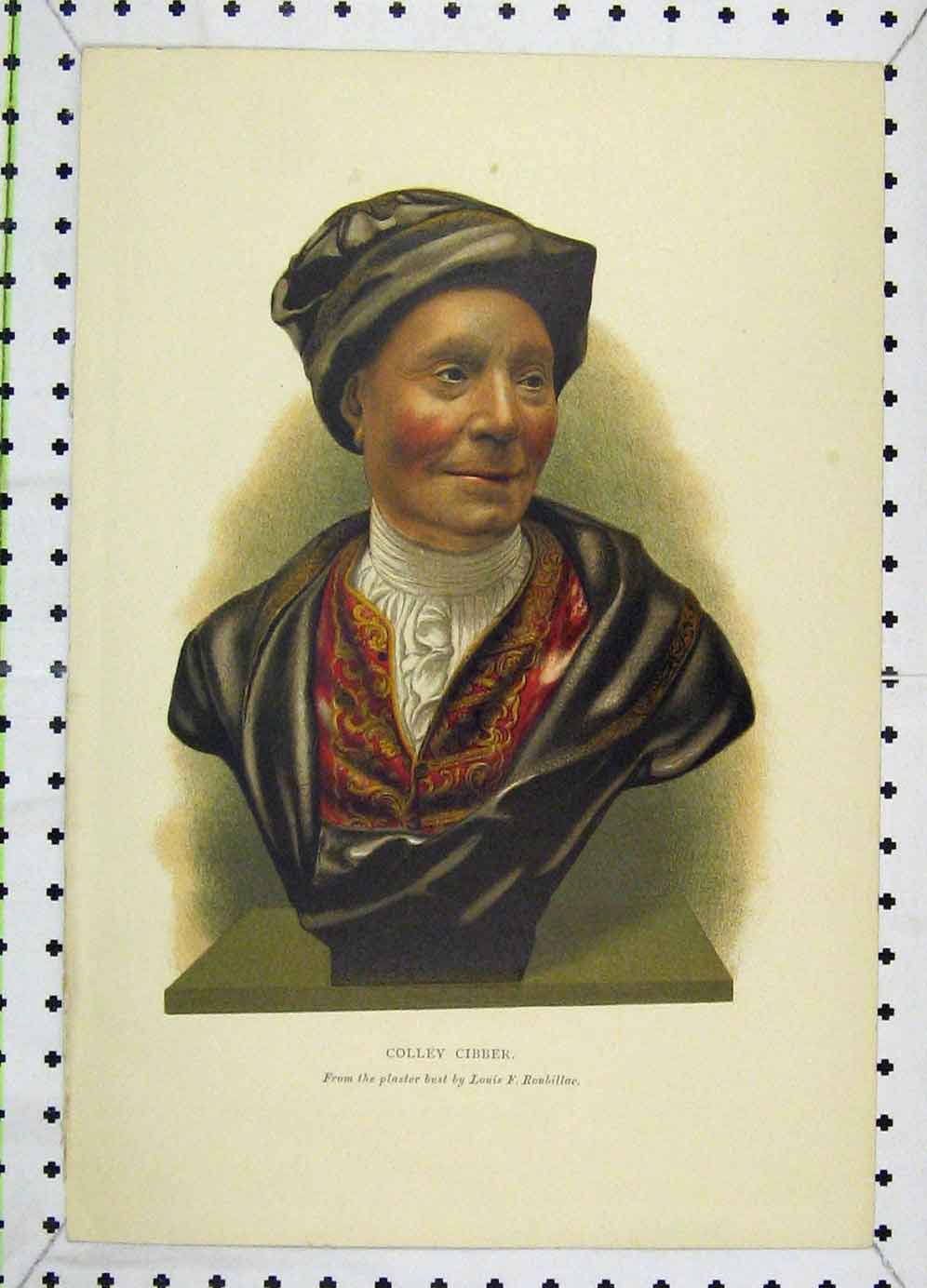Print Colour Portrait Colley Cibber Roubillac 113B225 Old Original