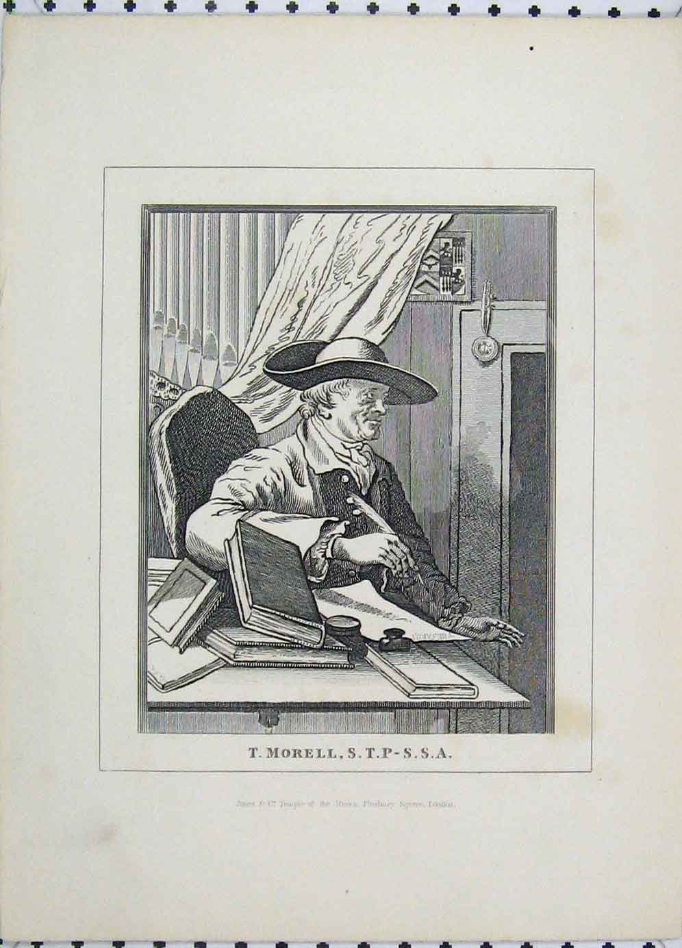Print Portrait Morell Writing Book Temple 115B225 Old Original