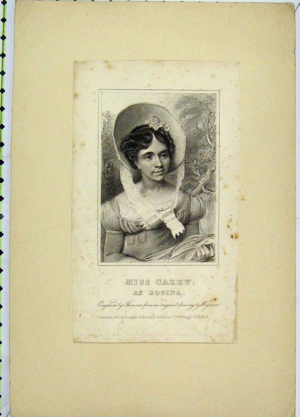 Print 1820 Portrait Miss Carew Rosina Thomson 117B225 Old Original
