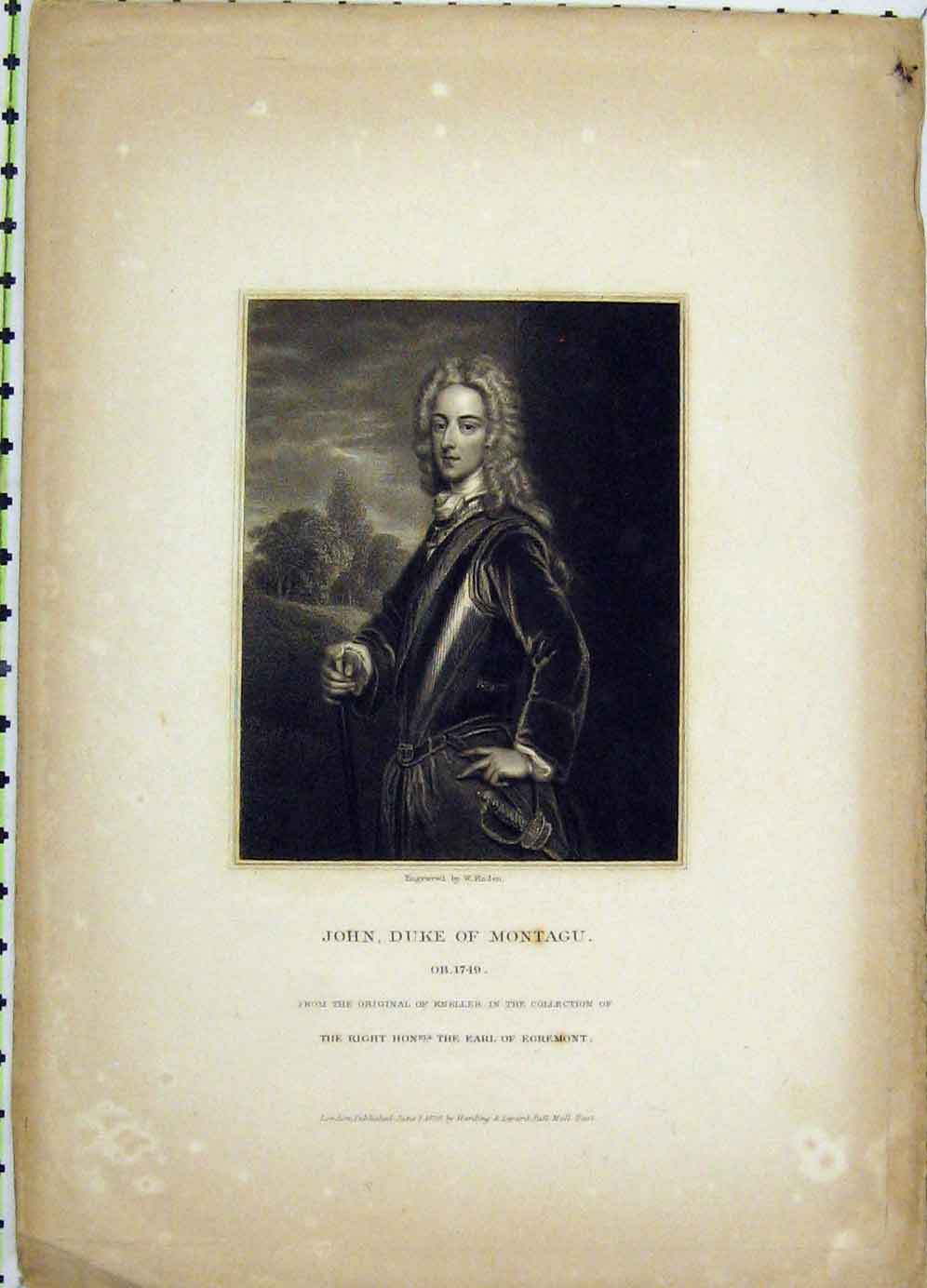 Print 1829 Portrait John Duke Montagu Finden 118B225 Old Original