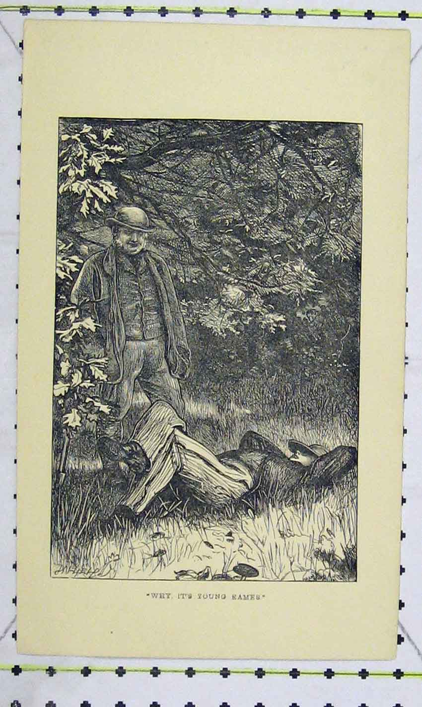 Print 1863 Scene Garden Men Lying Sleeping 105B226 Old Original