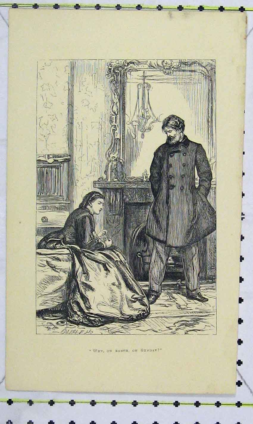 Print Scene Room Man Woman Romance 1863 107B226 Old Original
